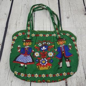VINTAGE 1950'S KOLF OF AUSTRIA FOLK ART Fabric Bag